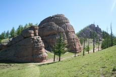 Mongolei: Granitfelsen