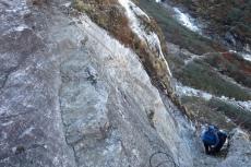 Nepal - Klettersteigeinlage auf dem Weg nach Kongde