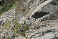 Seilbrücke im Zirbenwald-Klettersteig